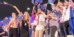 Australia 2015: Guy Sebastian with flags at Eurovision 2015
