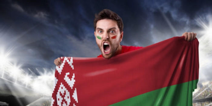 Belarus fan with flag