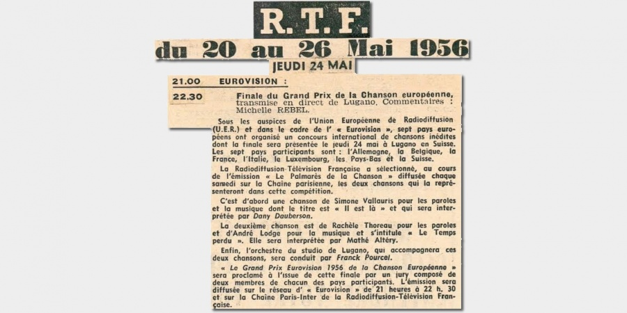 "Eurovision 1956: Press cut of the French ""Télémagazine"" 24 May 1956"