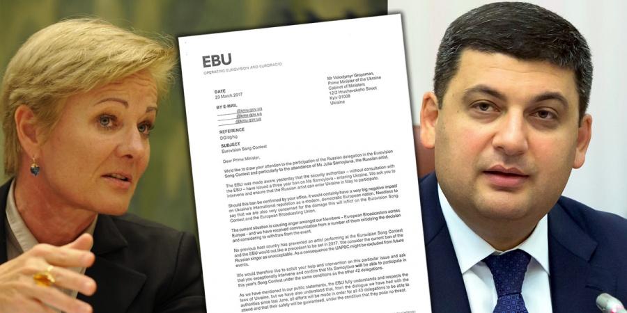 Eurovision 2017: Letter from EBU Ingrid Deltenre to Ukrainian Primeminister Volodymyr Groysman