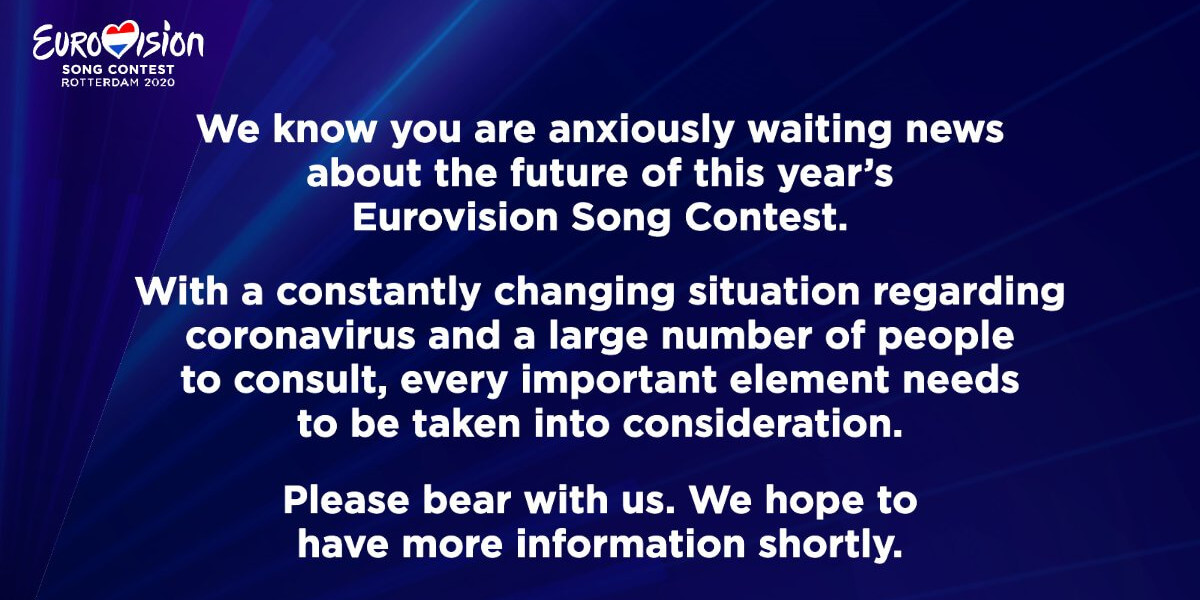 Eurovision Song Contest 2020 message