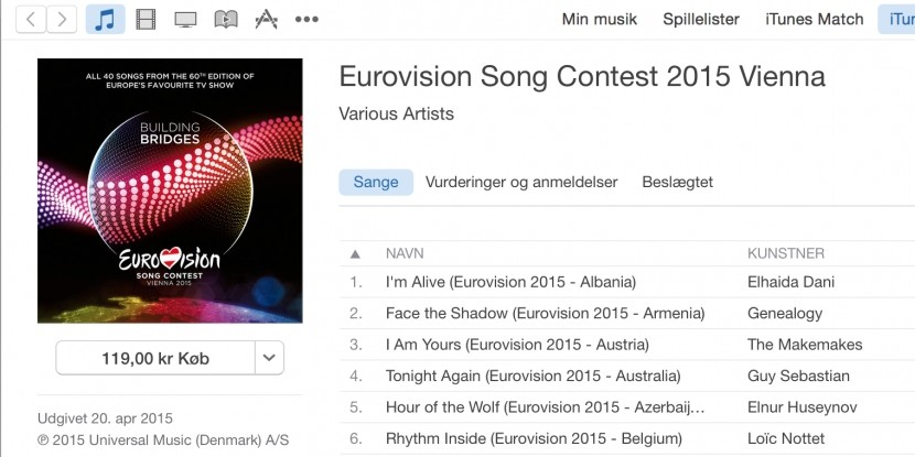 Eurovision 2015: CD iTunes