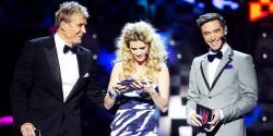 Hosts of Melodifestivalen 2010: Dolph Lundgren, Christine Meltzer and Måns Zelmerlöw