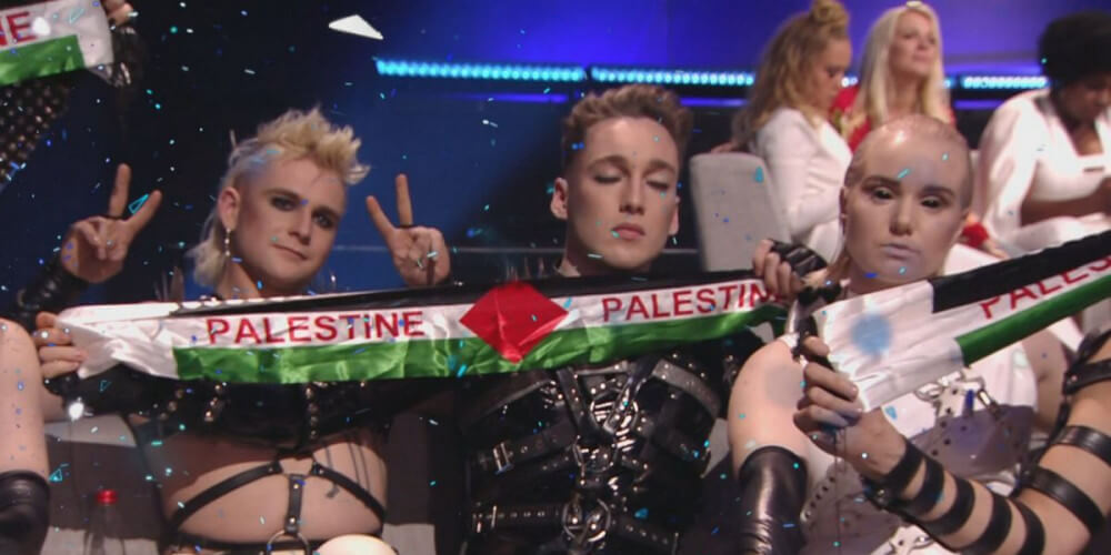 Iceland 2019: Hatari with Palestine Flag at Eurovision Song Contest 2019