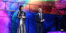 The hosts: Petra Mede and Graham Norton