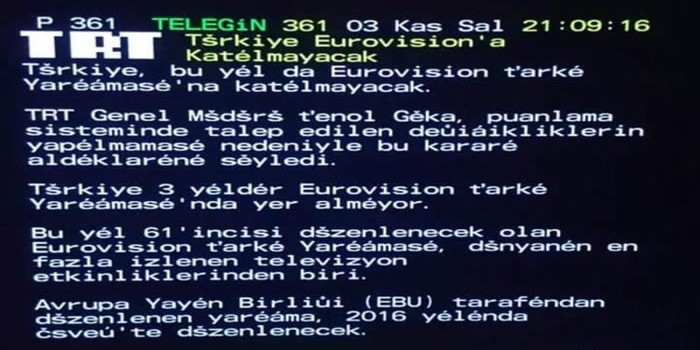 Turkey TRT: Turkey not returning to Eurovision